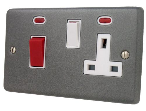 G&H CP29W Standard Plate Pewter 45 Amp DP Cooker Switch & 13A Switched Socket